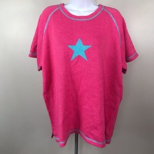 Quacker factory pink silver star sweater large